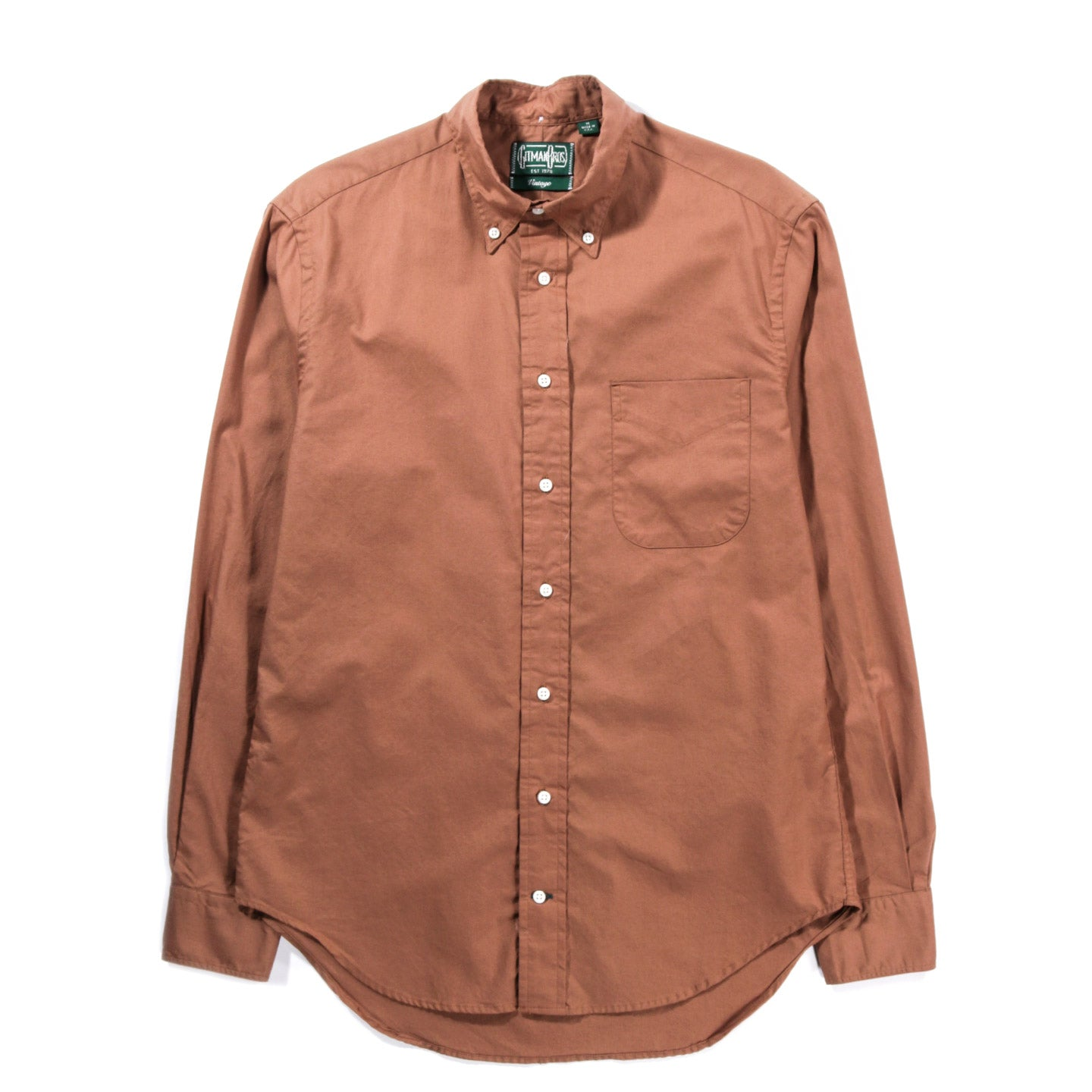 GITMAN VINTAGE BUTTON DOWN SUMMER HOPSACK BROWN