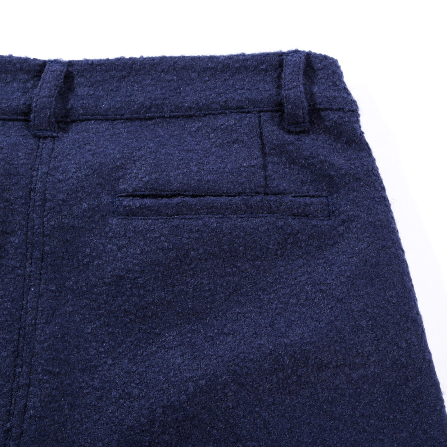 HOUSE OF ST. CLAIR SINGLE PLEAT TROUSER NAVY BOILED WOOL