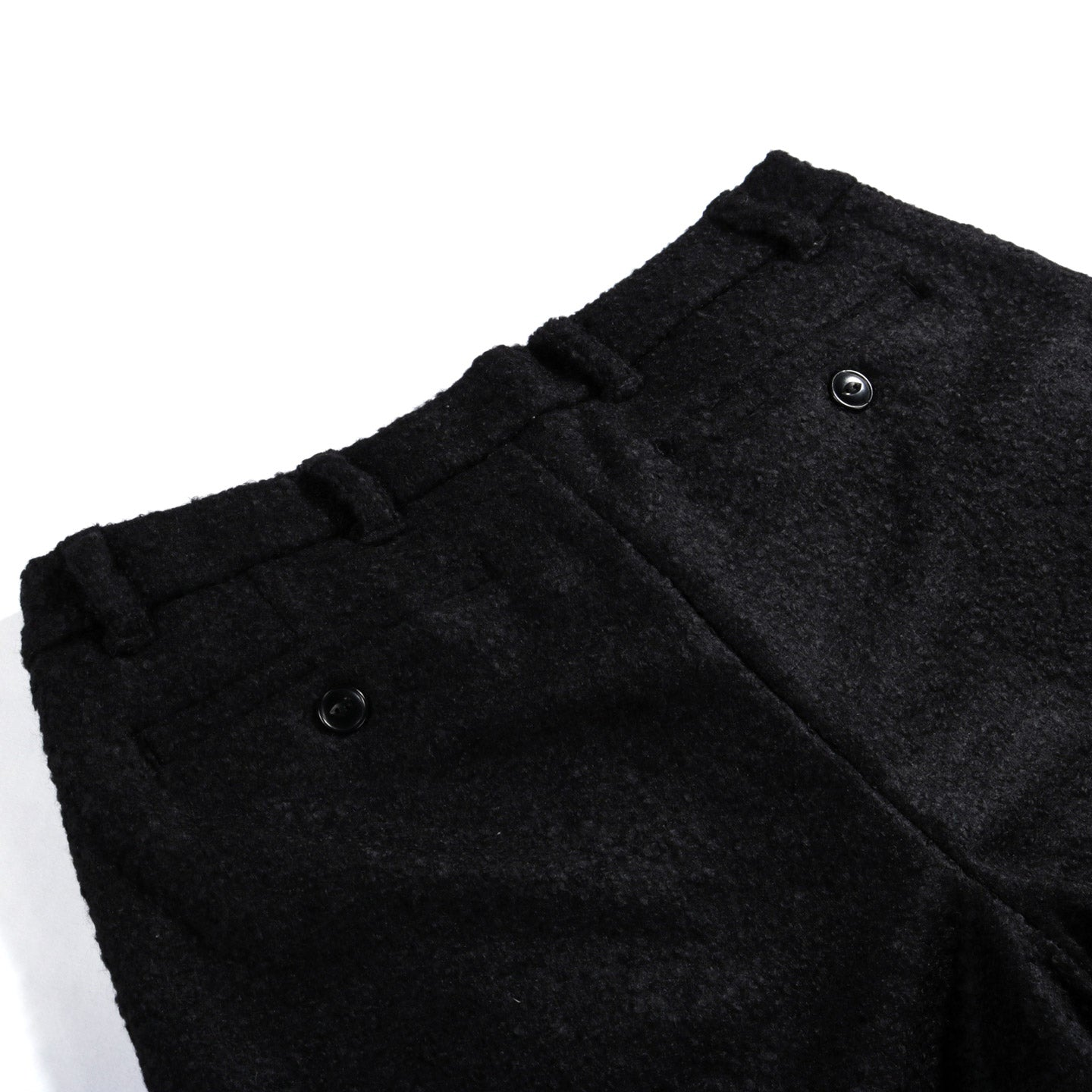HOUSE OF ST. CLAIR SINGLE PLEAT TROUSER BLACK BOILED WOOL