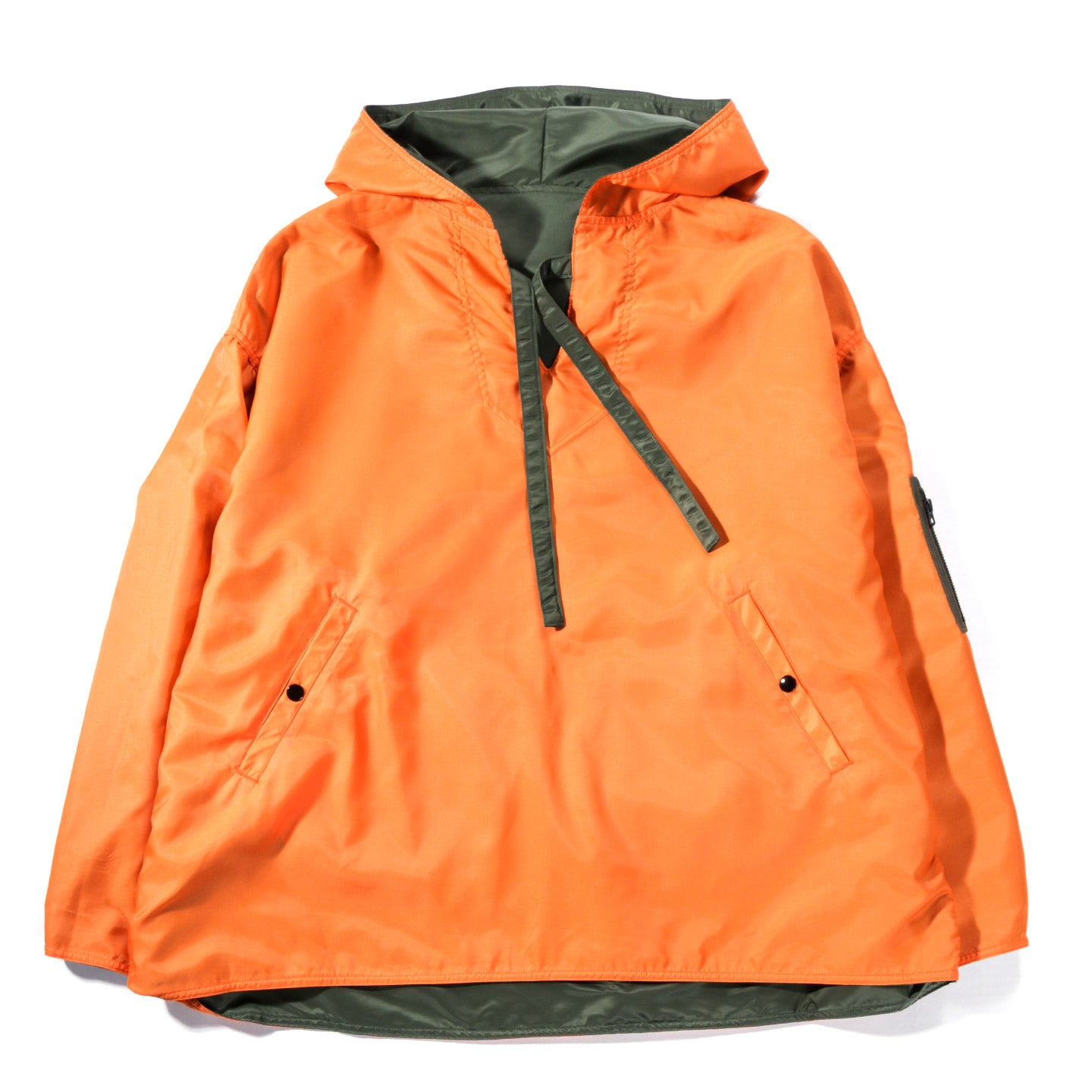 KAPITAL MA-1 NYLON REVERSIBLE BIG BAJA PARKA KHAKI / ORANGE