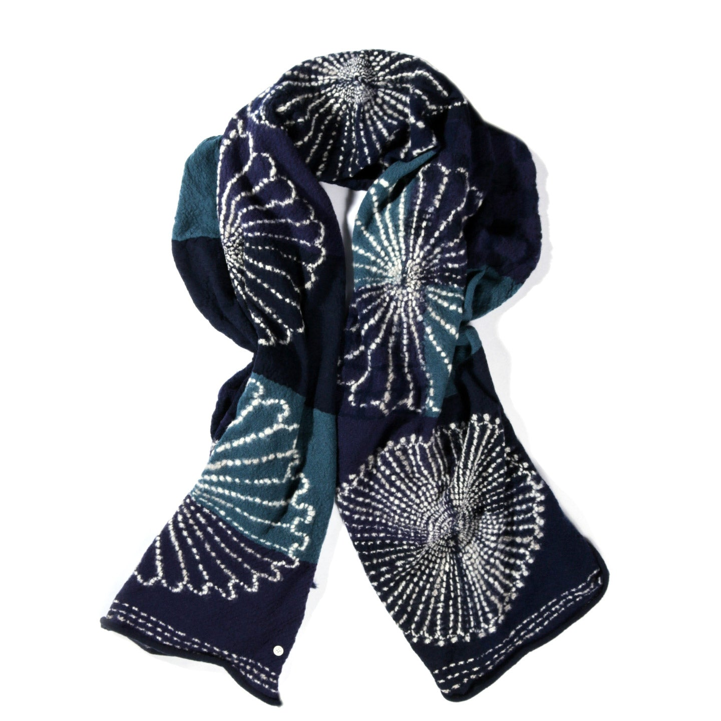 KAPITAL COMPRESSED WOOL SCARF FUROSHIKI FIVE RINGS NAVY