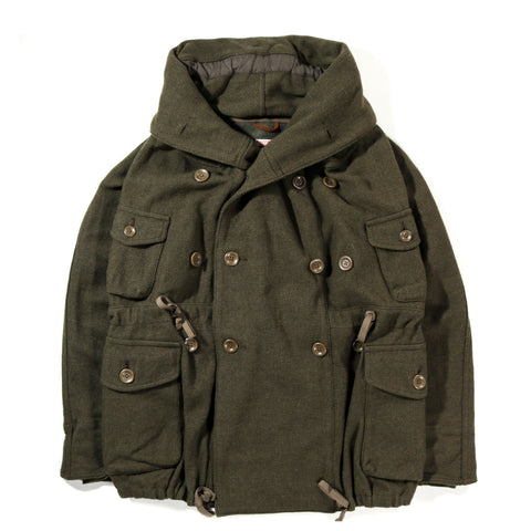 KAPITAL VINTAGE MELTON WOOL RING COAT KHAKI