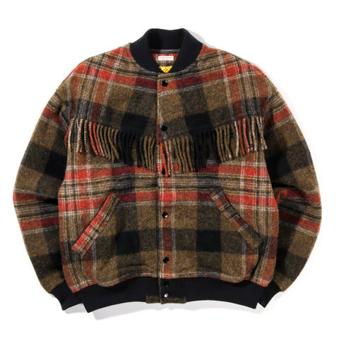 KAPITAL COUNTRY WOOL CHECK FRINGED GAUCHO BLOUSON GRAY / KHAKI