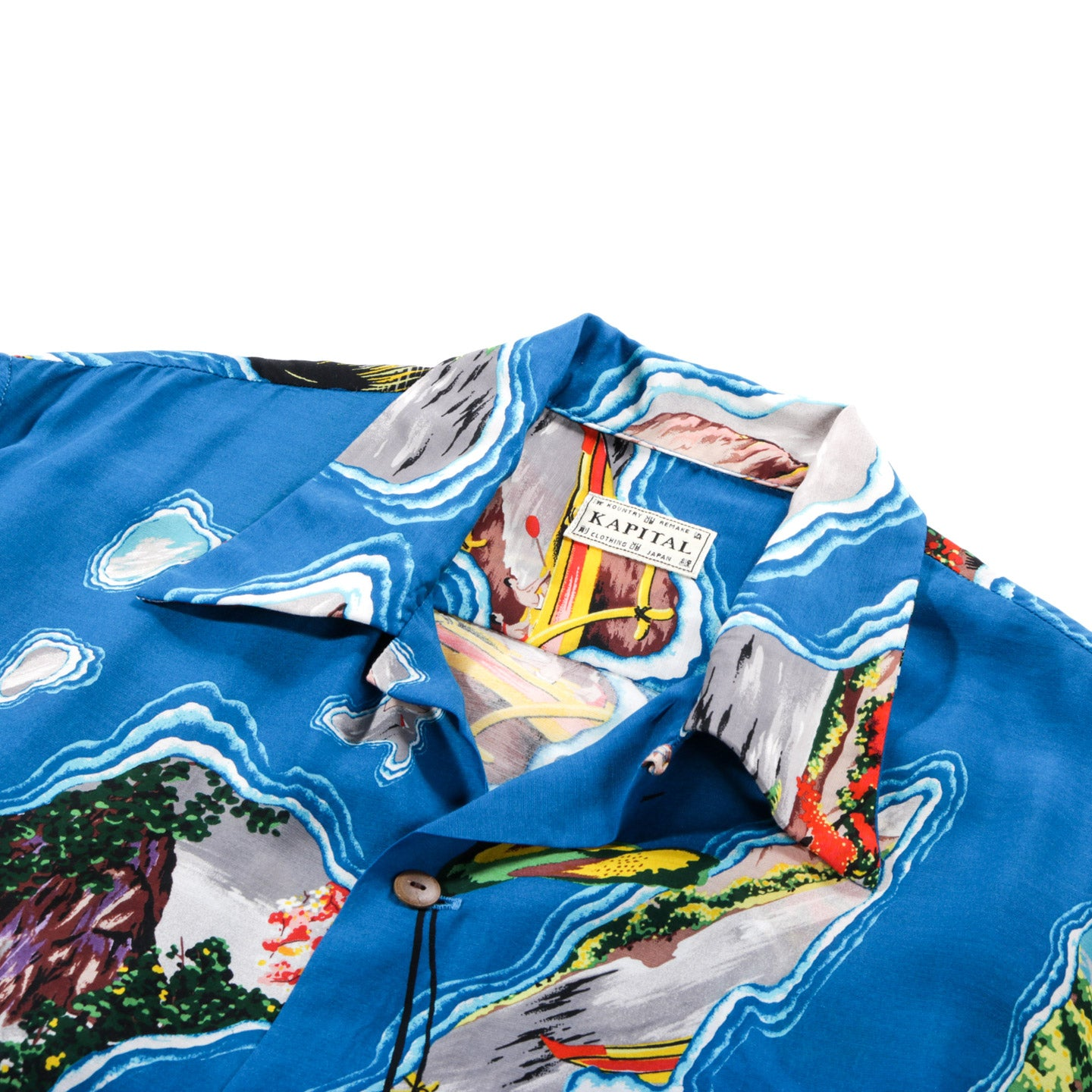KAPITAL SILK / RAYON PACIFIC-ATLANTIC ALOHA SHIRT BLUE