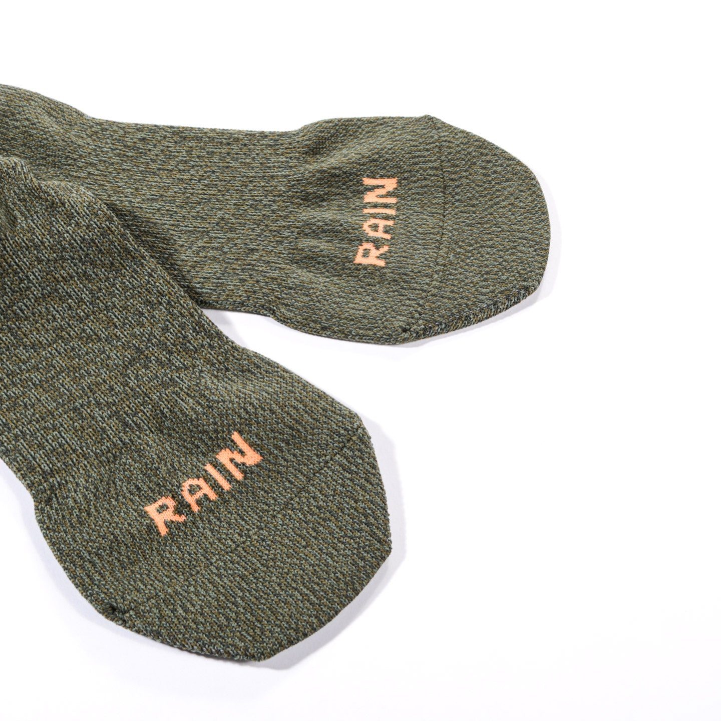 KAPITAL 144 YARNS SUPER-DRY HEEL SMILE SOCKS KHAKI
