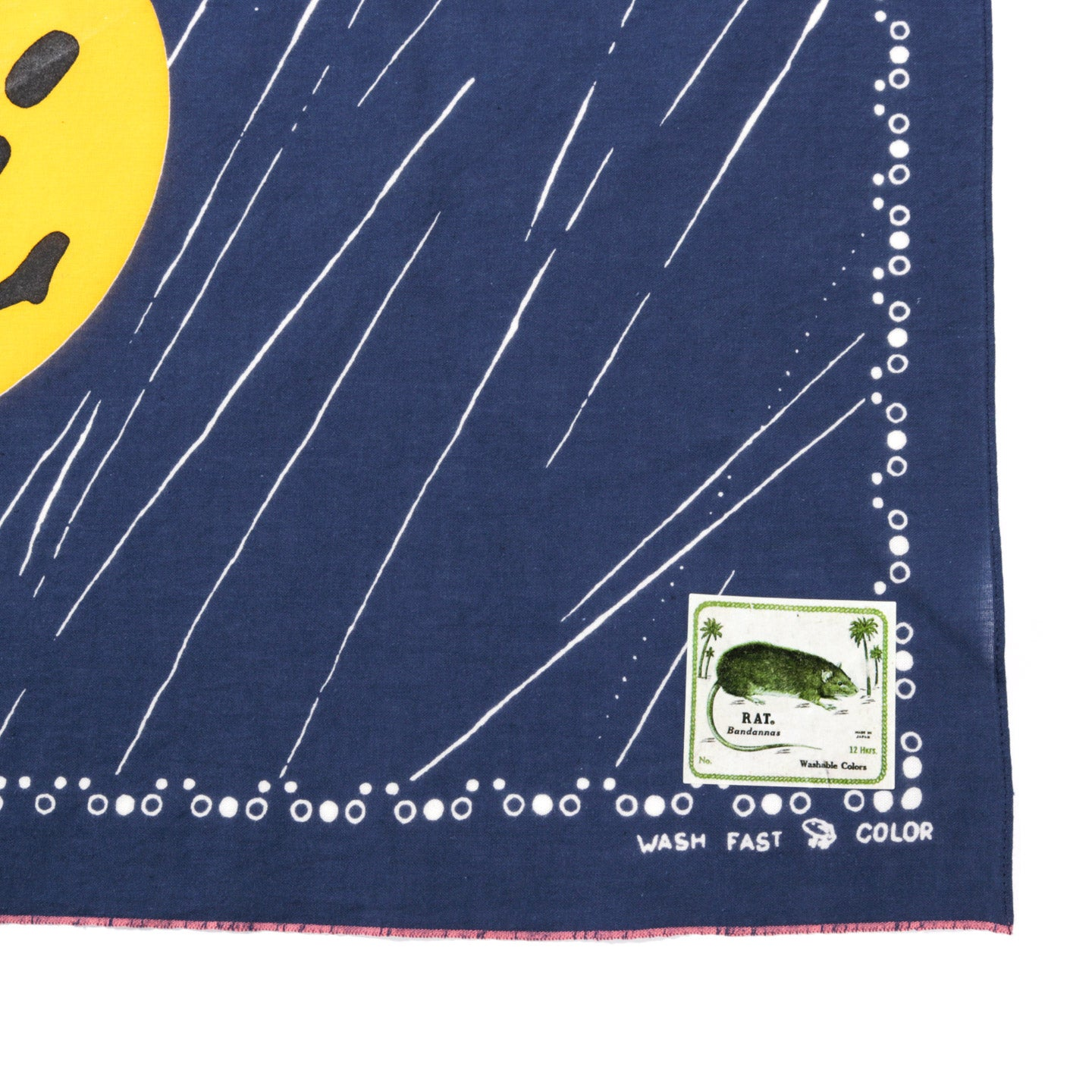 KAPITAL FASTCOLOR SELVEDGE BANDANA RAIN SMILE NAVY
