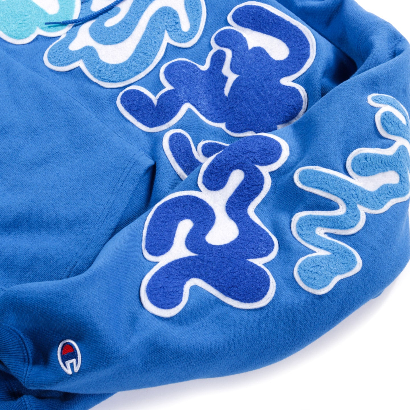 LEO ASHER MARGOLIS CHAIN STITCH EMBROIDERED PATCH HOODIE BLUE - L (A)