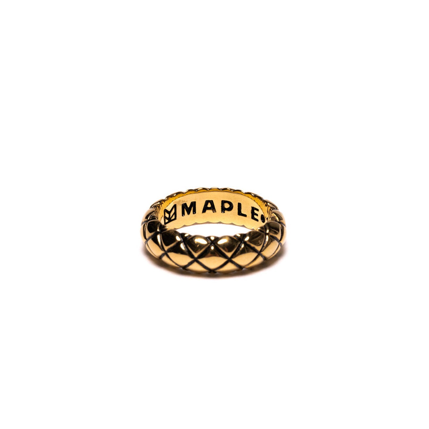 MAPLE QUILTED BAND RING 14K GOLD PLATED