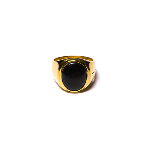 MAPLE TOMMY SIGNET RING 14K GOLD PLATED / BLOODSTONE