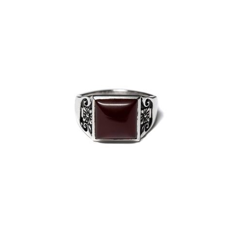 MAPLE COLLEGIATE RING SILVER 925 / RED GARNET