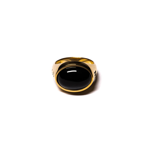 MAPLE TUBBY RING 14K GOLD PLATED / ONYX