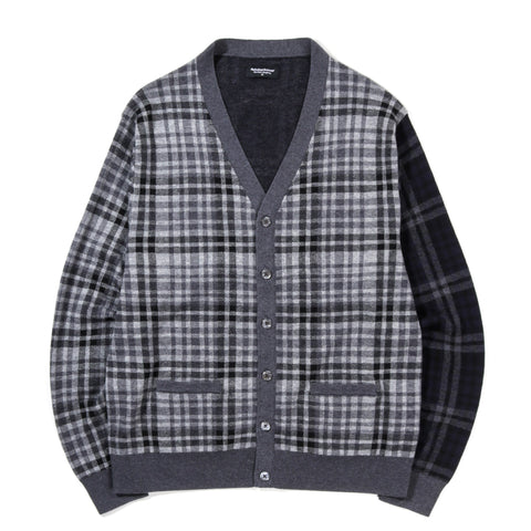 METICULOUS KNITWEAR WOODSTOCK COMBO CARDIGAN CHARCOAL / BLACK / GREY / NAVY PLAID
