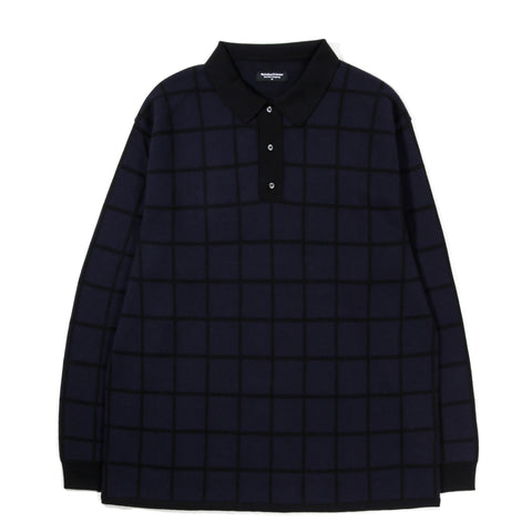 METICULOUS KNITWEAR LS POLO NAVY / BLACK WINDOW PANE