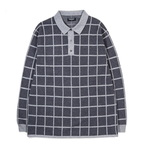 METICULOUS KNITWEAR LS POLO CHARCOAL / GREY WINDOW PANE