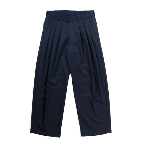 MONITALY TRIPLE TUCK WIDE PANTS NOVA STRETCH NAVY