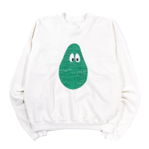 MONITALY AVOCADO 3D EMBROIDERY CROPPED CREWNECK SWEATSHIRT OFF WHITE