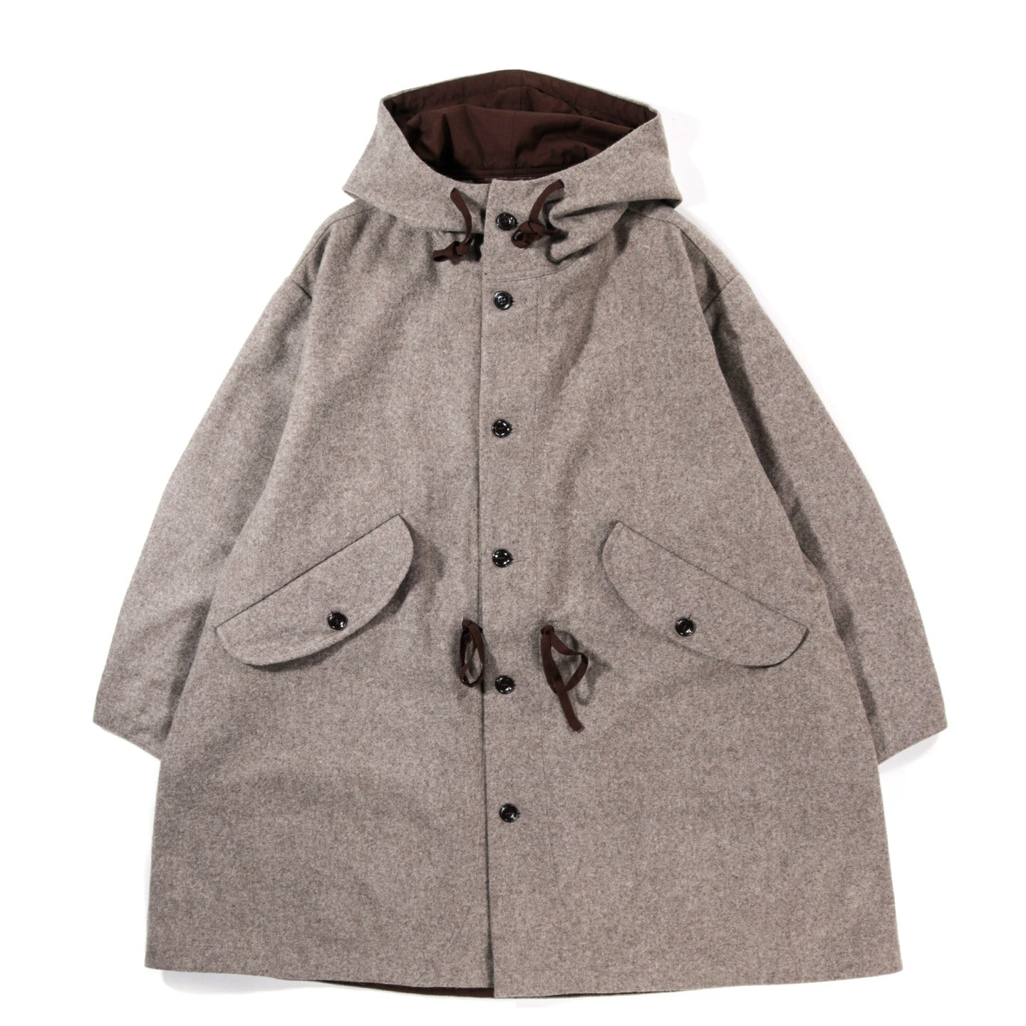 MONITALY CZECH COAT WOOL FLANNEL DARK BEIGE
