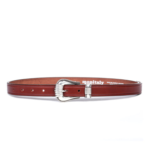 "MONITALY EXTENDED 1"" CREASED BELT WITH SILVER SET OAK BARK"