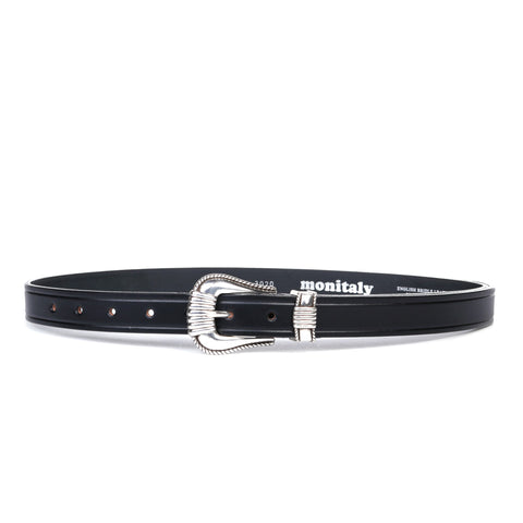 "MONITALY EXTENDED 1"" CREASED BELT WITH SILVER SET BLACK"