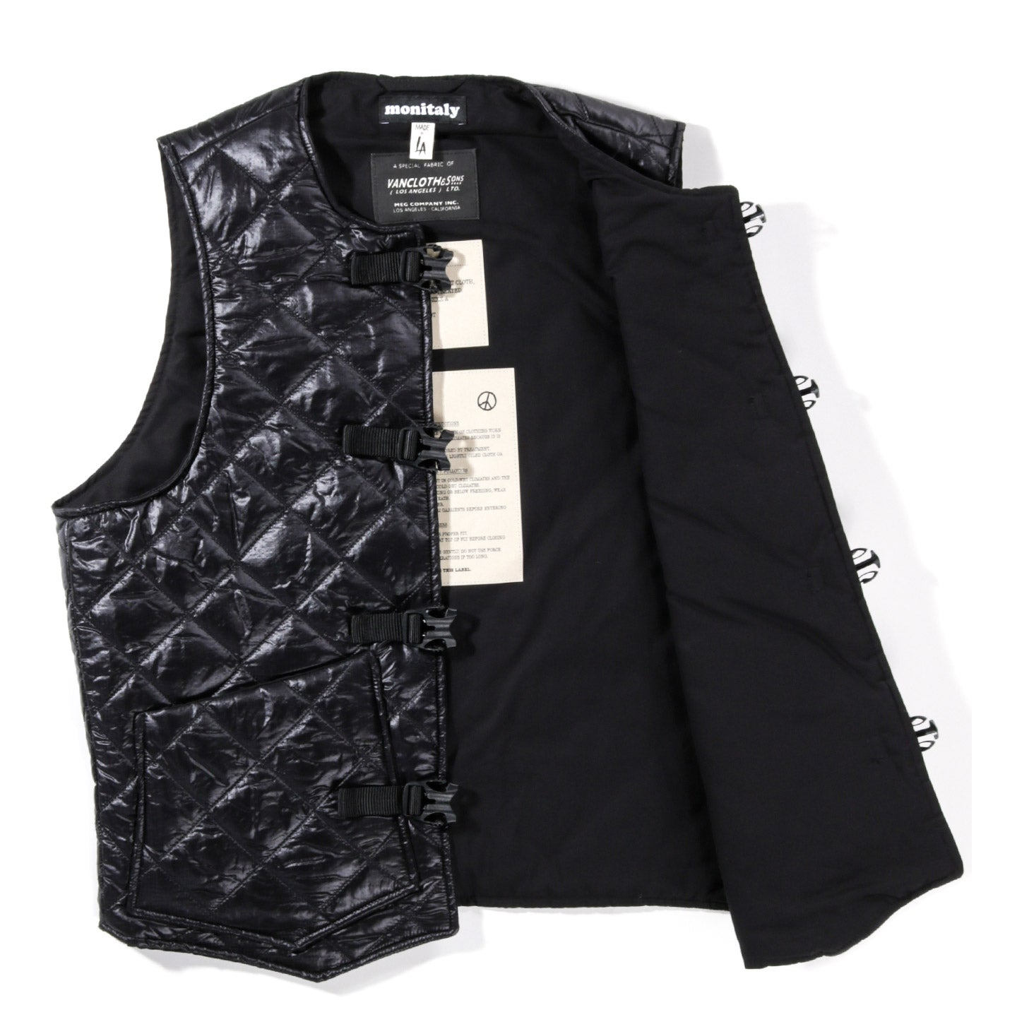 MONITALY QUILTED CINCHO VEST ZIGZAG BLACK