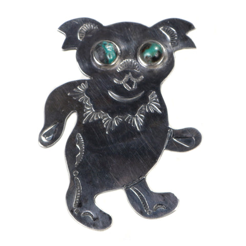 MUNQA DREAMING BEAR BROOCH STERLING SILVER