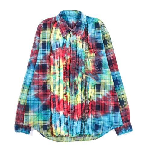 REBUILD BY NEEDLES RIBBON FLANNEL SHIRT TIE DYE - L  (A)