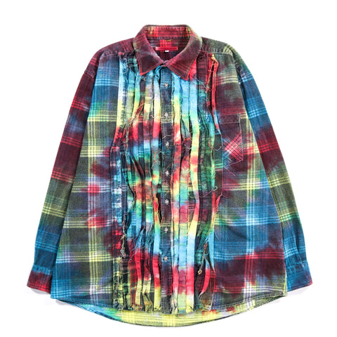 REBUILD BY NEEDLES RIBBON FLANNEL SHIRT TIE DYE - L (B)