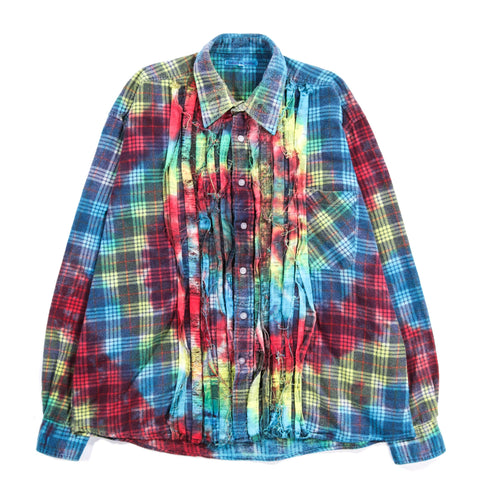 REBUILD BY NEEDLES RIBBON FLANNEL SHIRT TIE DYE - M (A)