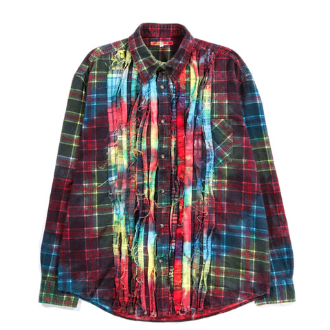 REBUILD BY NEEDLES RIBBON FLANNEL SHIRT TIE DYE - M (B)