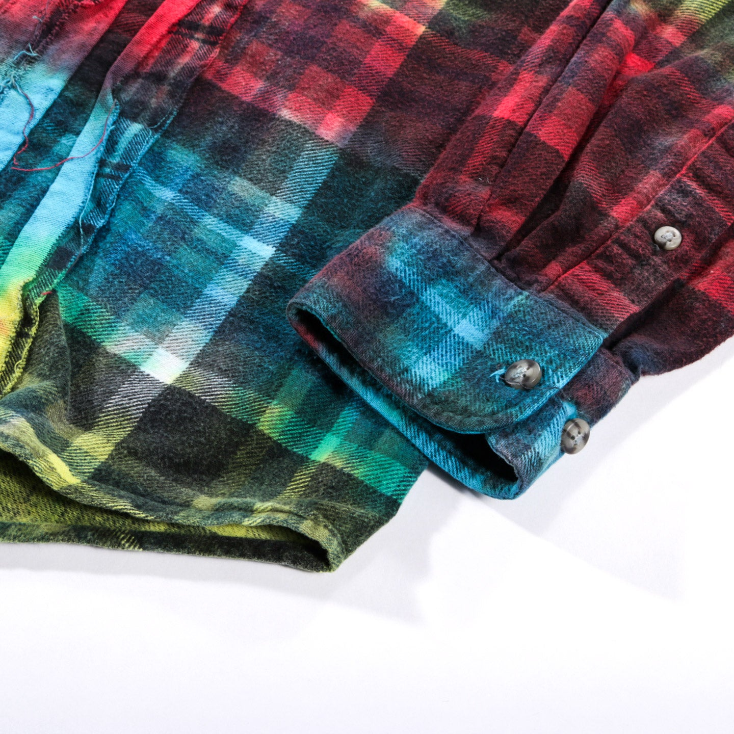 REBUILD BY NEEDLES RIBBON FLANNEL SHIRT TIE DYE - S (A)