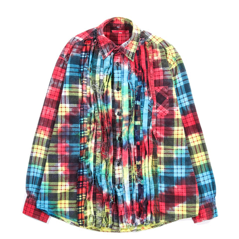 REBUILD BY NEEDLES RIBBON FLANNEL SHIRT TIE DYE - S (B)