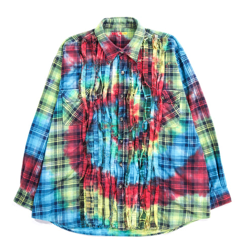 REBUILD BY NEEDLES RIBBON FLANNEL SHIRT TIE DYE - XL (B)