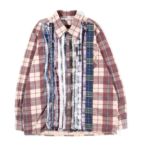 REBUILD BY NEEDLES RIBBON FLANNEL SHIRT TAN - SMALL