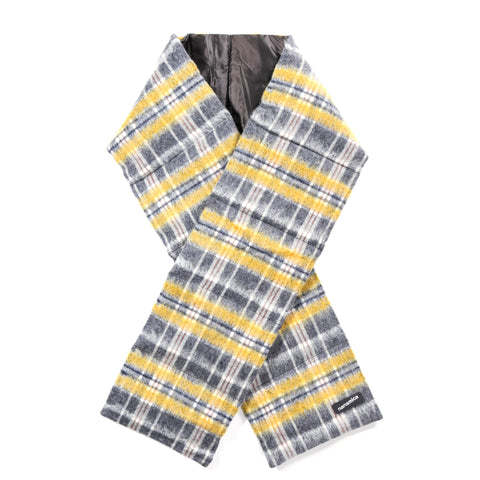 NANAMICA WOOL CHECK DOWN MUFFLER YELLOW
