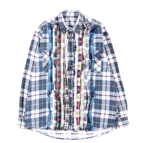 REBUILD BY NEEDLES RIBBON FLANNEL SHIRT NAVY - SMALL