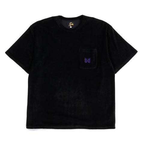 NEEDLES S/S POCKET TEE VELOUR BLACK