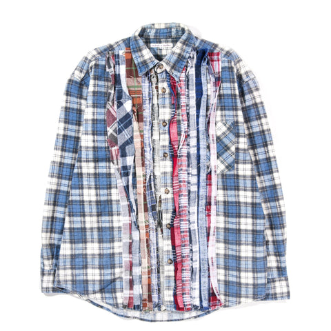 REBUILD BY NEEDLES RIBBON FLANNEL SHIRT BLUE - MEDIUM