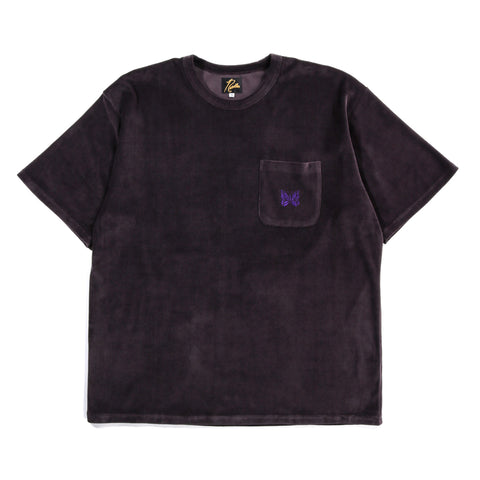 NEEDLES S/S POCKET TEE VELOUR MAROON