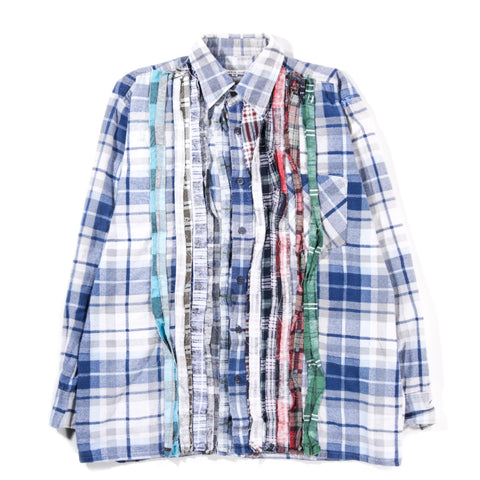 REBUILD BY NEEDLES RIBBON FLANNEL SHIRT LT. BLUE - MEDIUM