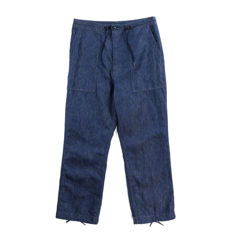 NEEDLES STRING FATIGUE PANT 11OZ COTTON LINEN DENIM INDIGO