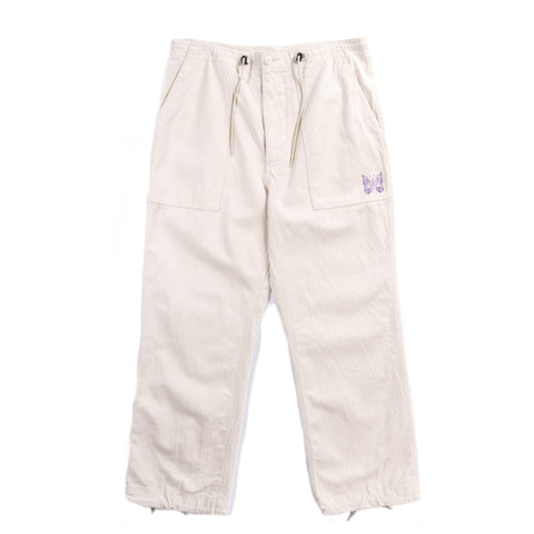NEEDLES STRING FATIGUE PANT COTTON HERRINGBONE OFF WHITE