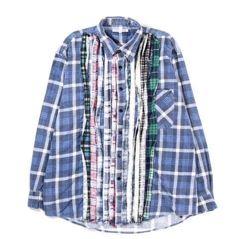REBUILD BY NEEDLES RIBBON FLANNEL SHIRT NAVY - LARGE