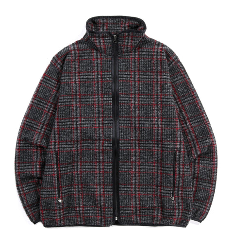 NEEDLES SPORTSWEAR WARM UP PIPING JACKET PLAID KNIT GREY
