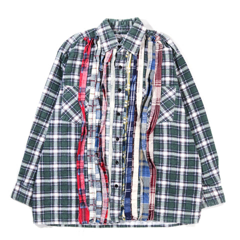 REBUILD BY NEEDLES RIBBON FLANNEL SHIRT GREEN - LARGE
