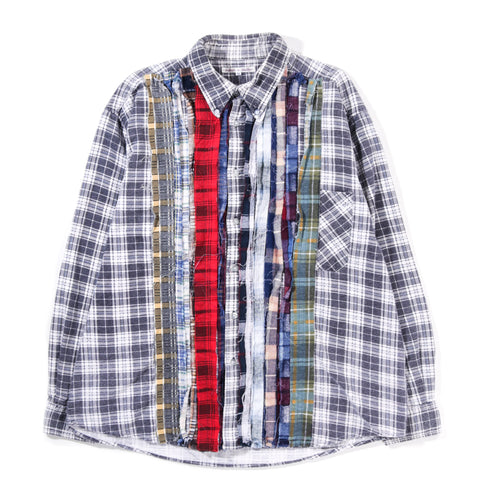 REBUILD BY NEEDLES RIBBON FLANNEL SHIRT CHARCOAL - XLARGE