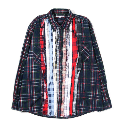 REBUILD BY NEEDLES RIBBON FLANNEL SHIRT GREEN - XLARGE