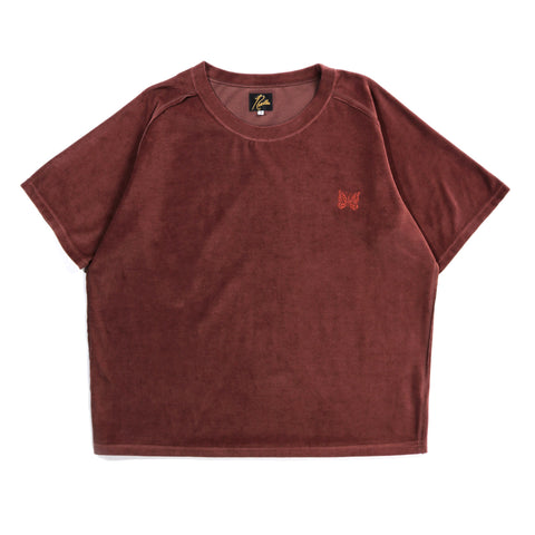 NEEDLES S/S U NECK TEE VELOUR BROWN