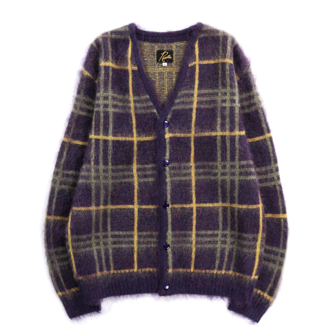 NEEDLES MOHAIR CARDIGAN PLAID PLUM
