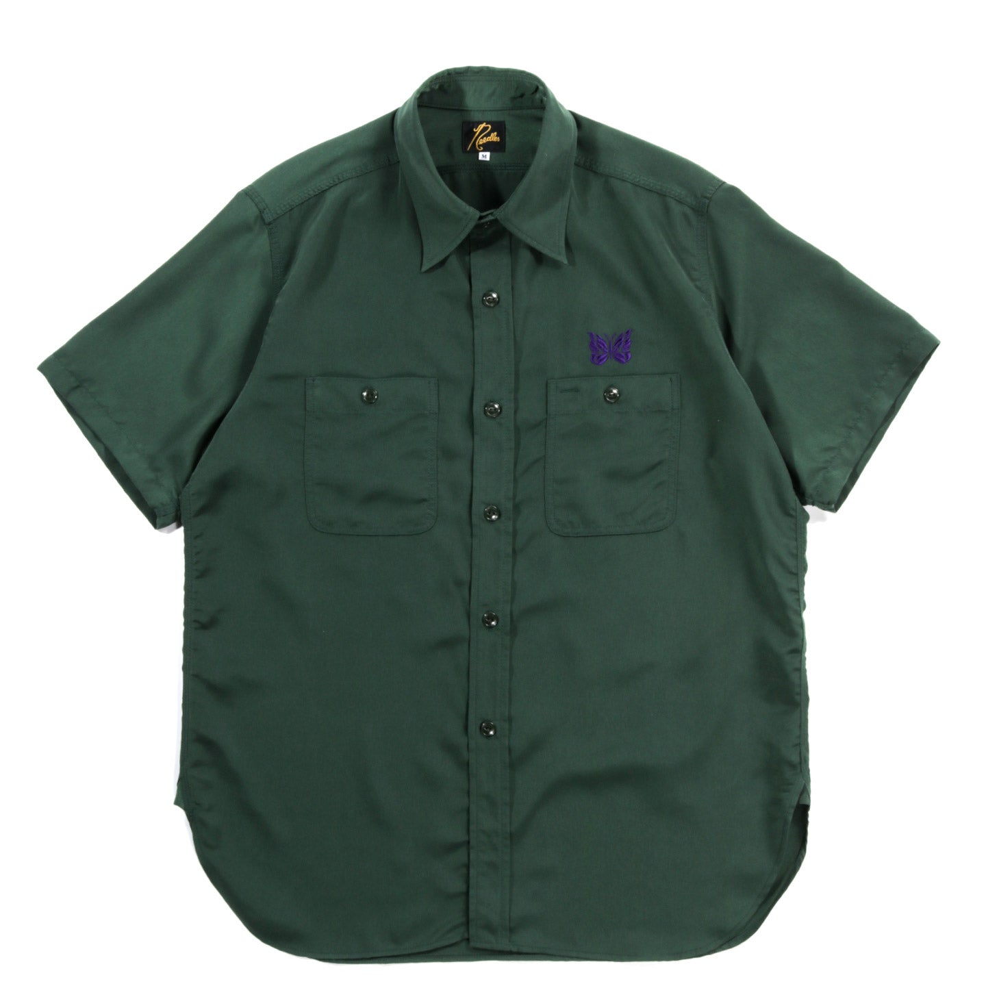 NEEDLES S/S WORK SHIRT POLY CLOTH GREEN