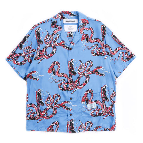 NEIGHBORHOOD RATTLESNAKE SS ALOHA SHIRT BLUE